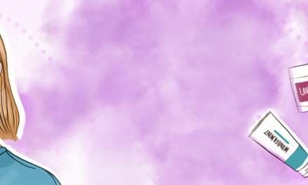 Cartoon image of Jaime Schmidt with Schmidt's deodorants and toothpastes and purple background