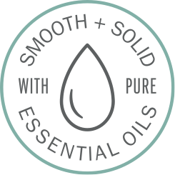 illustrated circle with a raindrop illustration in the middle with the words smooth and solid with pure essential oils written in the circle
