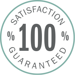 illustrated circle with 100% satistcation guaranteed written inside