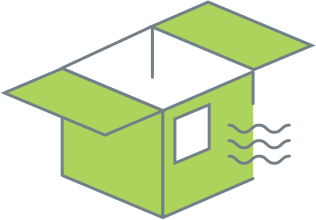 illustrated shipping box with top open