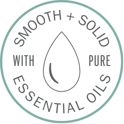 icon reads smooth and solid with pure essential oils with droplet illustration